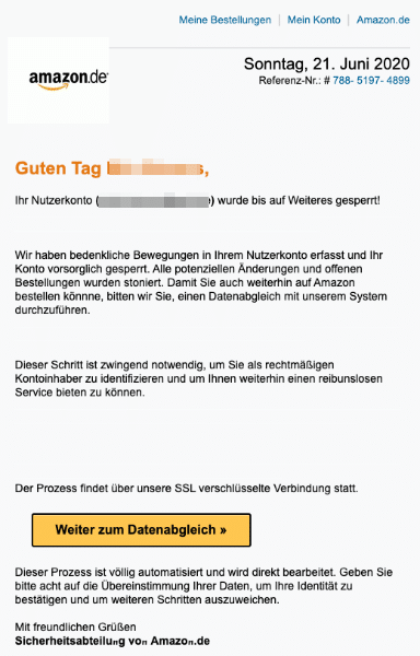 2020-06-22 Amazon SPam Fake-Mail Information zu Ihrem Nutzerkonto