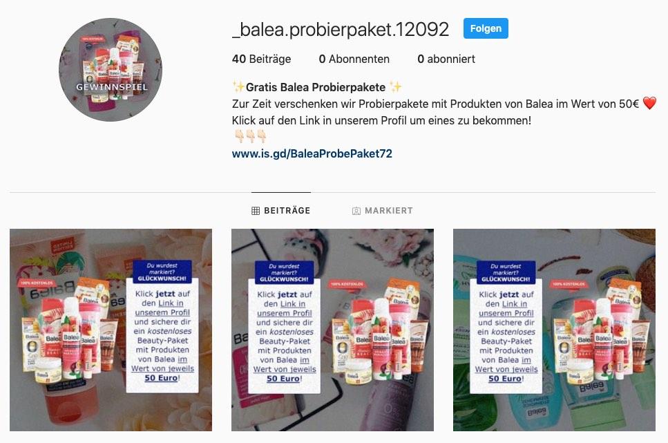 2020-06-23 Instagram Fake-Gewinnspiel Gratis Balea Probierpakete