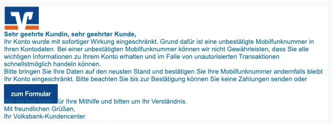 2020-06-23 Volksbank Spam Fake-MailSofortige Kontoeinschraenkung