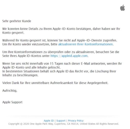 2020-06-25 Apple iCloud Spam Fake-Mail Datenschutzrichtlinienaenderungen
