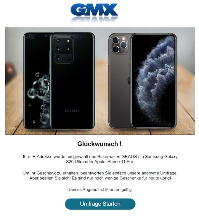 2020-06-25 GMX Fake-Mail Ihre IP-Adresse wurde ausgewaehlt und Sie erhalten Ihr Geschenk kostenlos