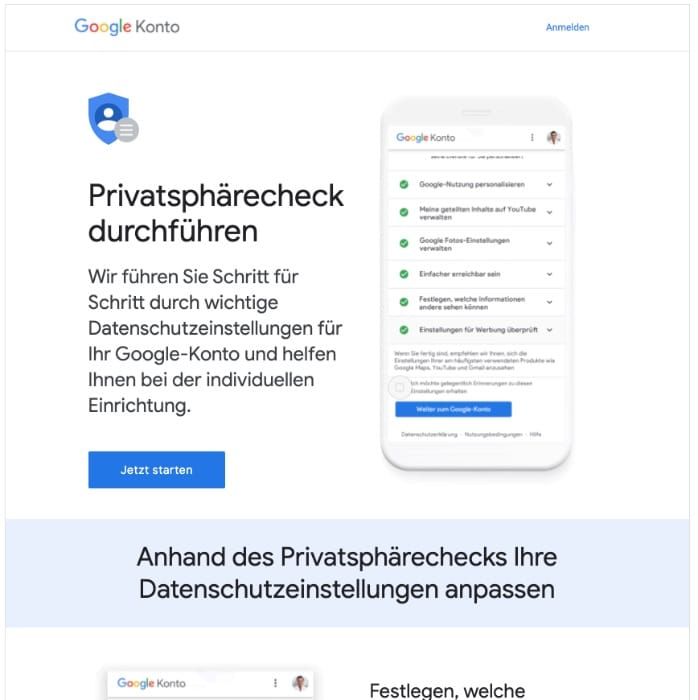 2020-06-25 Google E-Mail schließen Sie Ihren Privatsphärecheck ab