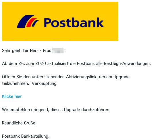 2020-06-26 Postbank Spam Fake-Mail Aktiviere deinen account