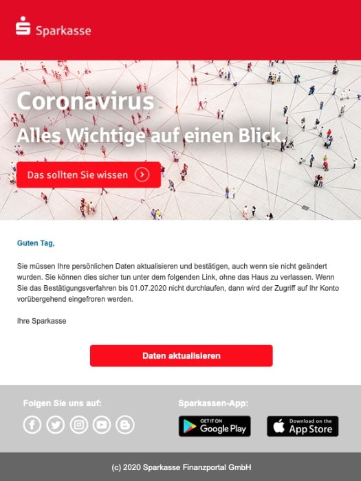2020-06-26 Sparkasse Spam Fake-Mail Ihre Sparkasse | Neuer Phishing-Versuc
