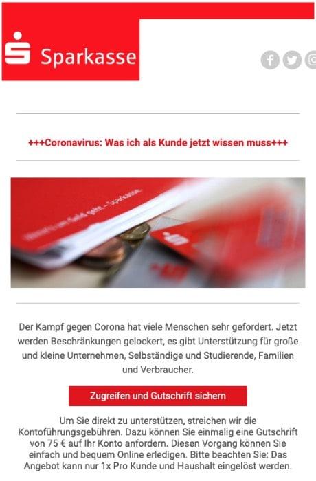 2020-06-26 Sparkasse Spam-Mail Jetzt werden Beschraenkungen gelockert