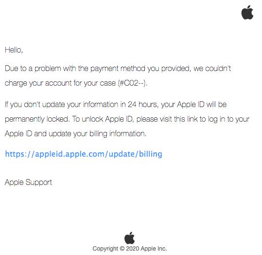 2020-06-28 Apple Spam-Mail Case ID AP-ID