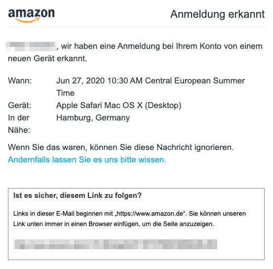 2020-06-29 Amazon E-Mail Amazon-Sicherheitsalarm- Anmeldung erkannt