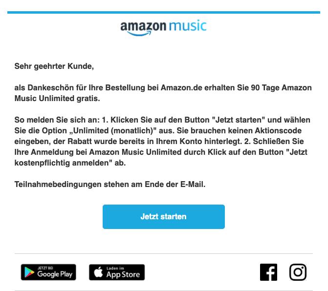 2020-06-29 Amazon E-Mail In Ihrer Amazon-Bestellung enthalten 90 Tage Musik gratis
