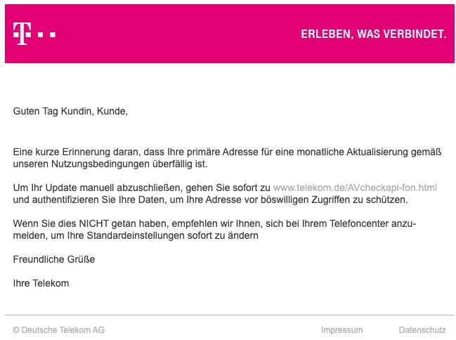 2020-06-29 Telekom Spam Fake-Mail Letzte Erinnerung E-Mail-Bestaetigung empfohlen