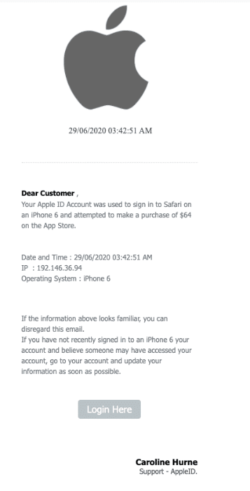 2020-06-30 Apple Phishing Fake-Mail Your account may be compromised