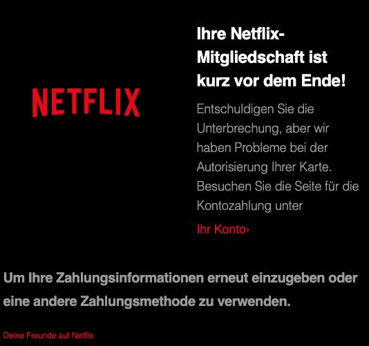 2020-06-30 Netflix Phishing Spam-Mail Ihre Netflix-Mitgliedschaft ist kurz vor dem Ende