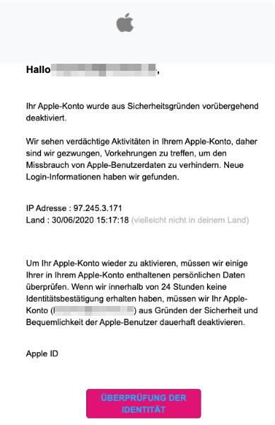 2020-07-01 Apple Spam Fake-Mail Ihr Apple-Konto wird deaktiviert