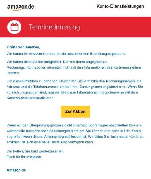 2020-07-06 Amazon Spam-Mail Terminerinnerung