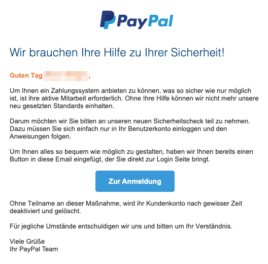 2020-07-06 PayPal Fake-Mail Aktuelle Kundenmitteilung