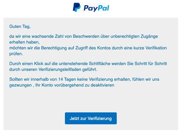 2020-07-06 PayPal SPam-Mail Ungewoehnliche Aktivitaeten festgestellt - Ihre Mitwirkung ist erforderlich