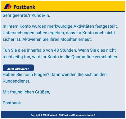2020-07-07 Postbank Phishing Fake-Mail Aktiviere deinen account