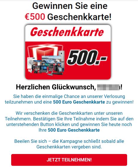 2020-07-10 Media Markt Spam Fake Gewinnen Sie Einen 500 EURO Geschenkkarte