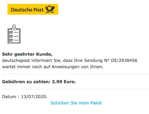 2020-07-14 Deutsche Post Spam Fake-Mail Paket Porto Abofalle