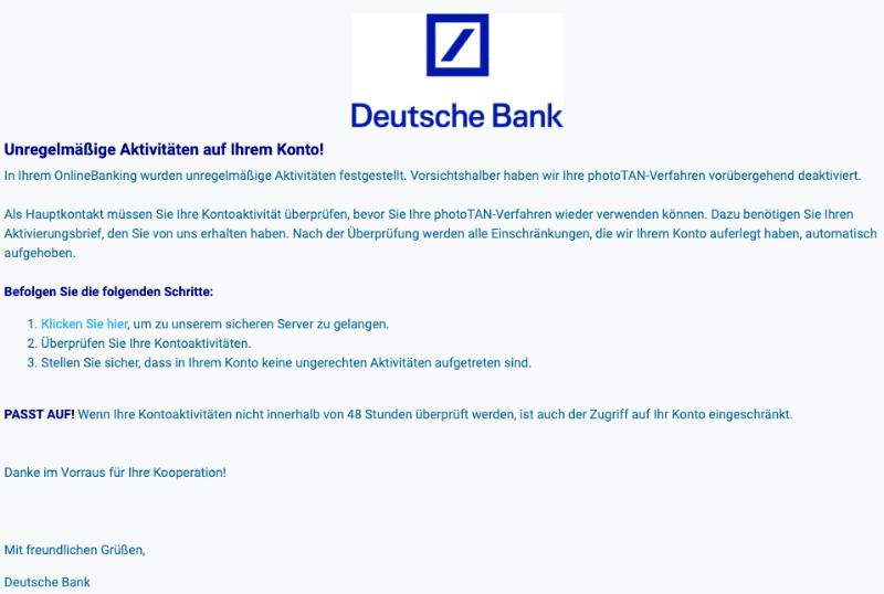 2020-07-20 Deutsche Bank Spam-Mail Fake Verdacht auf unbefugten Zugriff auf Ihr Konto