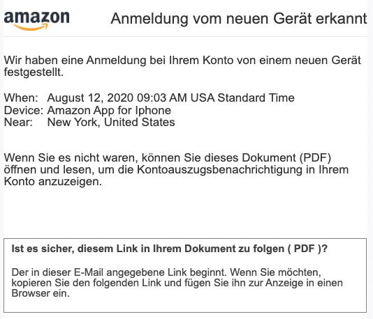 2020-08-13 Amazon Spam Fake-MailIhre Zahlung wird vor der Bestaetigung auf dem Amazon-Konto zurueckgestellt