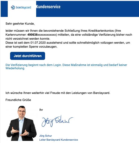 2020-08-17 Barclaycard Spam Fake-MailMitteilung über die anstehende Sperrung Ihres Kontos