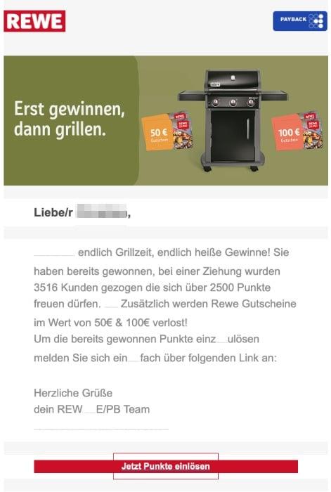 2020-09-04 REWE Payback Spam Fake-Mail Geschenkt Jetzt 2500 Punkte einloesen