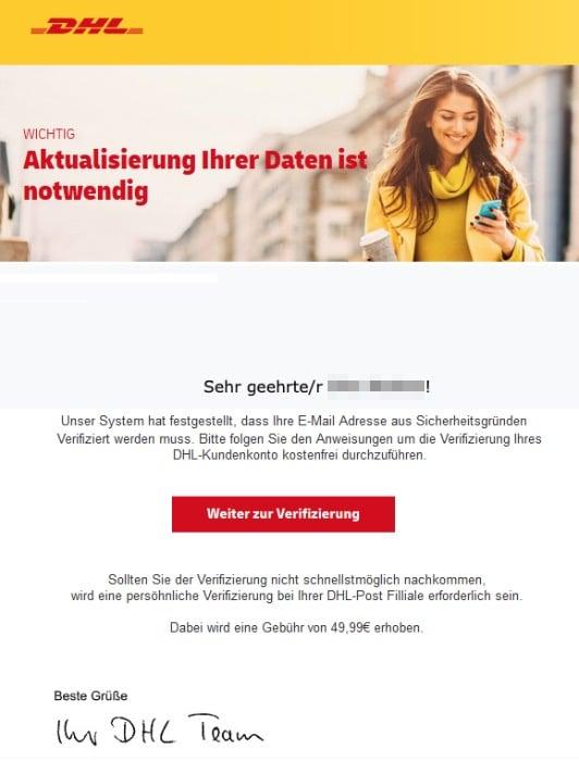 2020-09-21 DHL SPam Phishing-Mail Wichtige Mitteilung von DHL