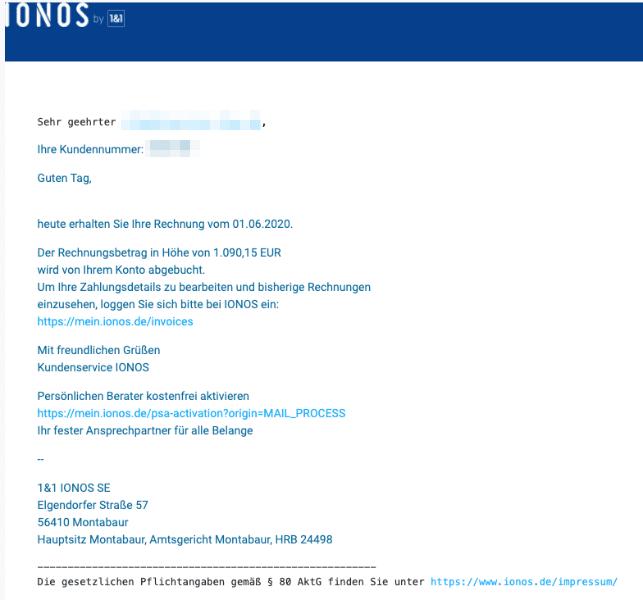 2020-07-02 IONOS Spam Fake-Mail Sicherheitswarnung fuer Ihr verknuepftes IONOS-Konto