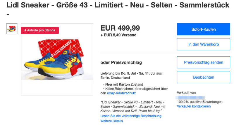 2020-07-03 Lidl Sneaker eBay 499 Euro