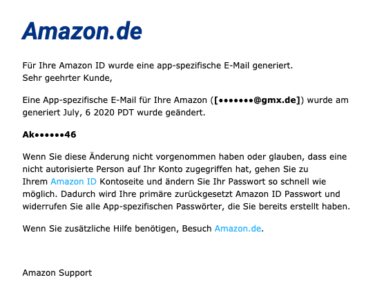 2020-07-07 Amazon SPam-Mail Fake App-Passwort