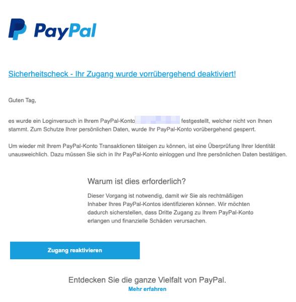 2020-07-07 PayPal Spam Fake Einschraenkung erfolgt