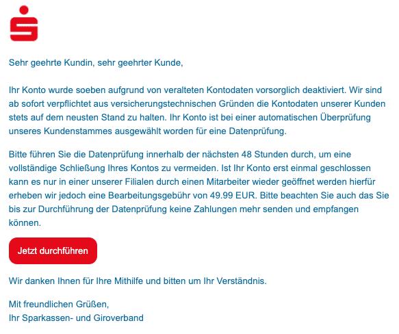 2020-07-08 Sparkasse Spam Fake-MailIhr Konto wurde vorsorglich deaktiviert
