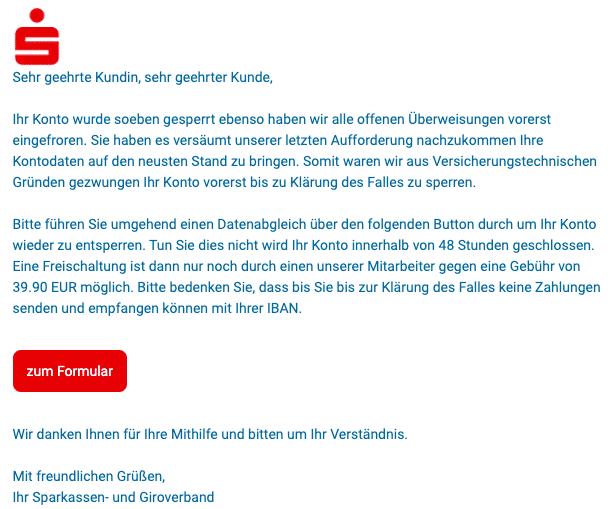 2020-07-08 Sparkasse Spam-Mail Fake Ihr Konto wurde soeben gesperrt