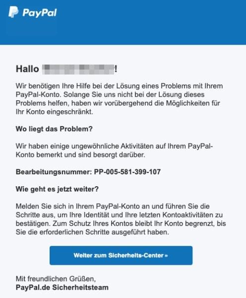 2020-07-09 PayPal SPam-Mail Fake Ihrе Mithilfҽ ist erfordеrlich