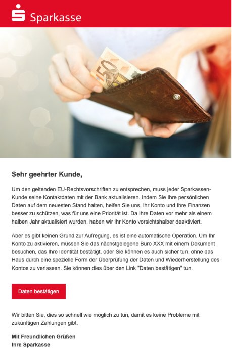 2020-07-09 Sparkasse Spam-Mail Phishing Ihre Sparkasse