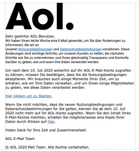 2020-07-10 AOL Fake-Mail Spam Wichtige AOL Mail Info
