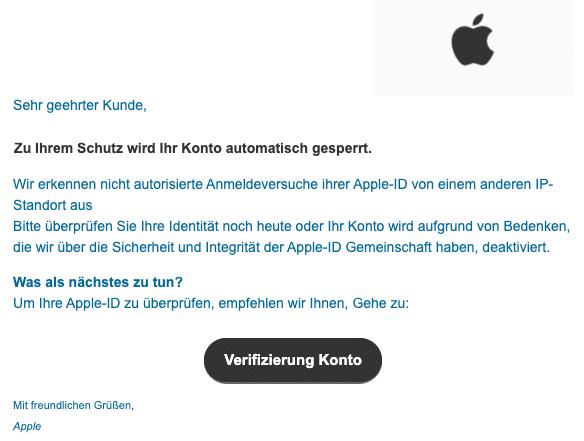 2020-07-13 Apple Phishing-Mail Wir haben ungewoehnliche Aktivitaeten in Ihrem Konto entdeckt