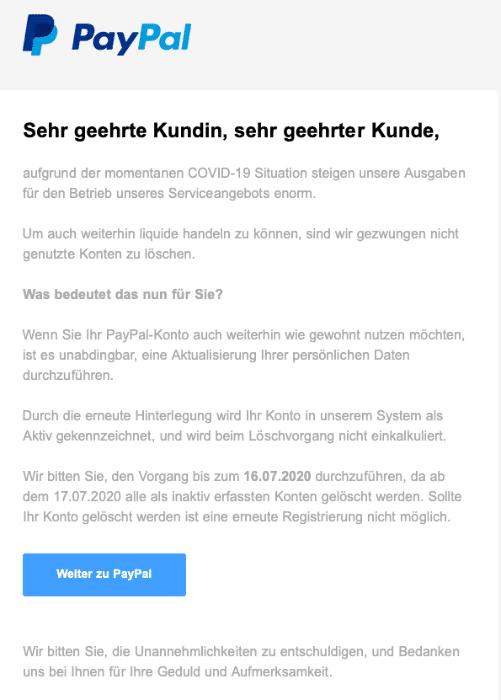 2020-07-13 Paypal Fake-Mail Spam Ѕіchеrhеіtѕbеnаchrіchtіgung