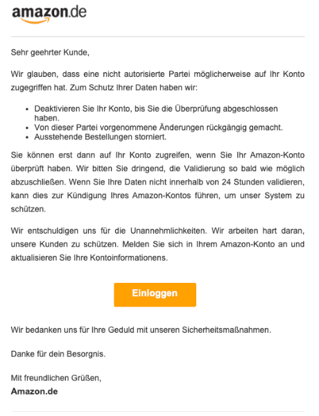 2020-07-14 Amazon Spam-Mail Fake Quittung vom Team-Support