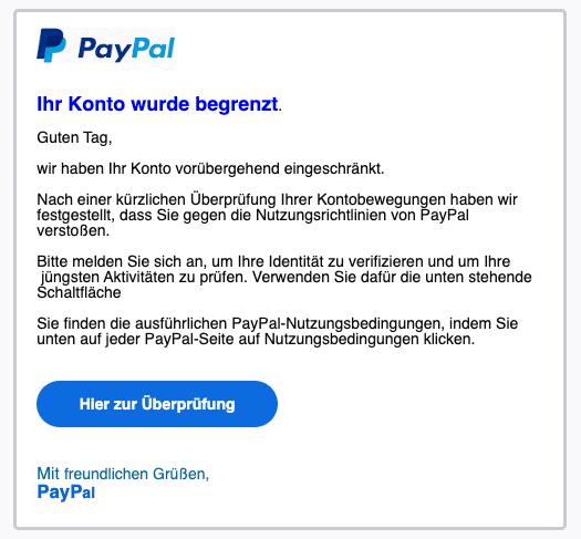 2020-07-14 PayPal Spam-MailIhr Konto wurde eingeschraenkt - Ihre Mitwirkung ist erforderlich