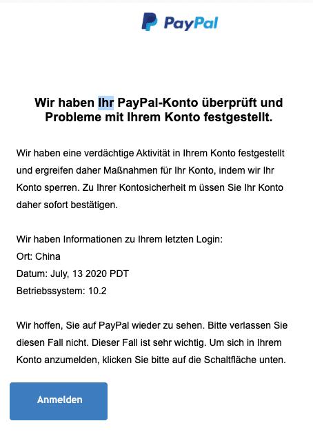 2020-07-15 PayPal Spam Fake-Mail Wir haben einige Probleme bei der Ueberpruefung Ihres Kontos
