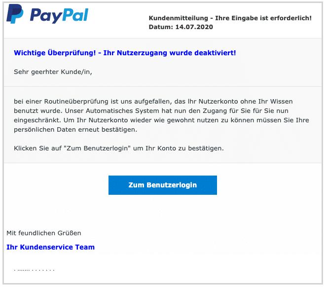 2020-07-15 PayPal Spam-Mail Fake Ihr Nutzerkonto wurde voruebergehend eingeschraenkt
