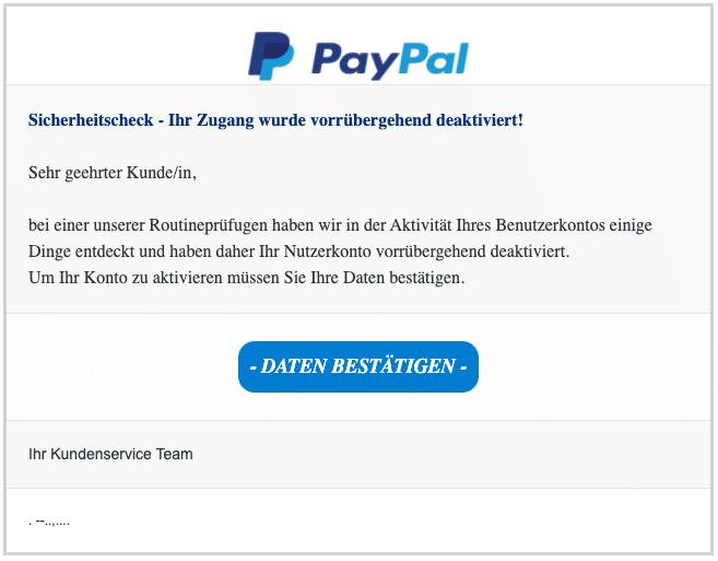 2020-07-15 PayPal Spam Phishing-Mail Ihr Konto wurde eingeschraenkt