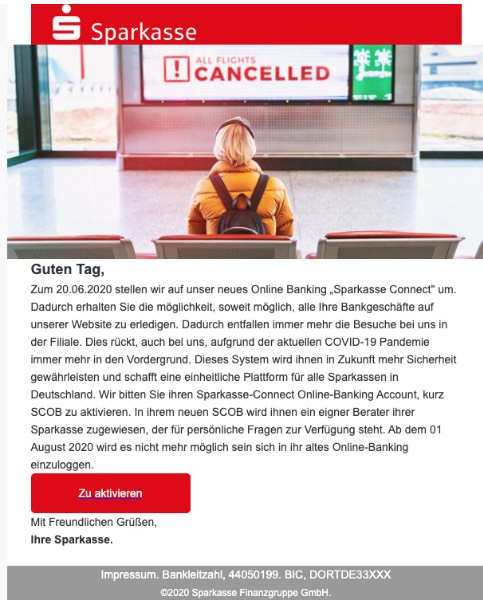 2020-07-16 Sparkasse Spam Fake-Mail Ihre Sparkasse