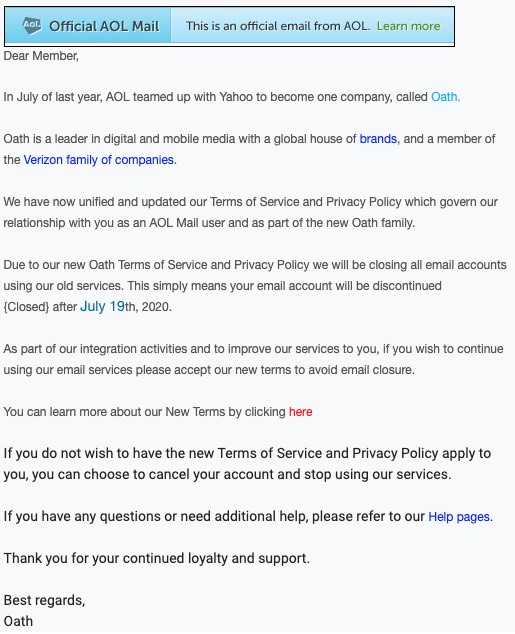 2020-07-17 AOL Fake-Mail Spam AOL Mail Update