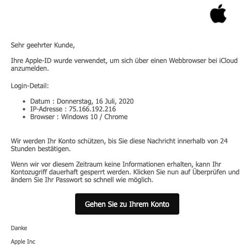2020-07-17 Apple Spam-Mail Ihre Apple-ID wurde aus Sicherheitsgruenden gesperrt