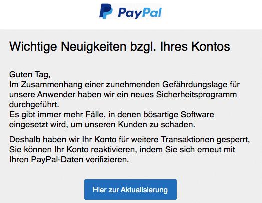 2020-07-19 PayPal Spam Fake-Mail Dringende Neuigkeiten bzgl Ihres Kontos