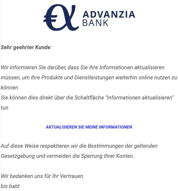 2020-07-20 Advanzia Spam Fake-Mail Wir informieren Sie darueber