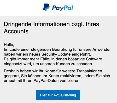 2020-07-20 PayPal Spam-Mail Fake Dringende Neuigkeiten bzgl Ihres Kontos