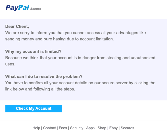 2020-07-20 Paypal Spam Fake-Mail Your Account has been limited